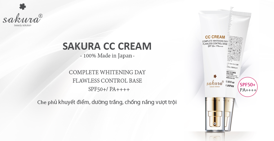 Review kem chống nắng cho da dầu mụn Sakura CC Cream Flawless Control Base