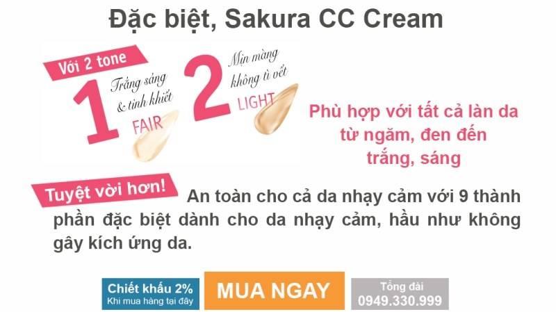 CC Sakura Cream có 2 tone màu phù hợp với mọi loại da