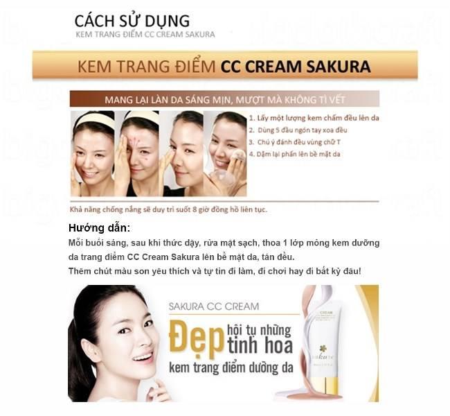 Hướng dẫn sử dụng kem trang điểm dưỡng da CC Cream Sakura