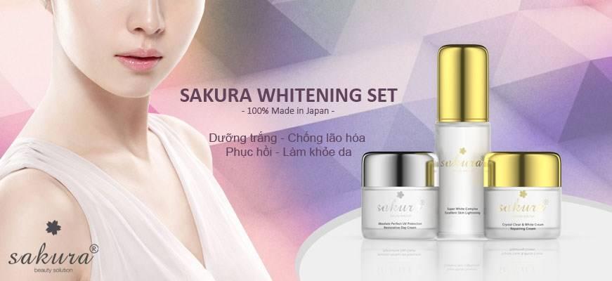 Bộ sản phẩm kem dưỡng trắng da Sakura Whitening mang lại vẻ đẹp rạng ngời