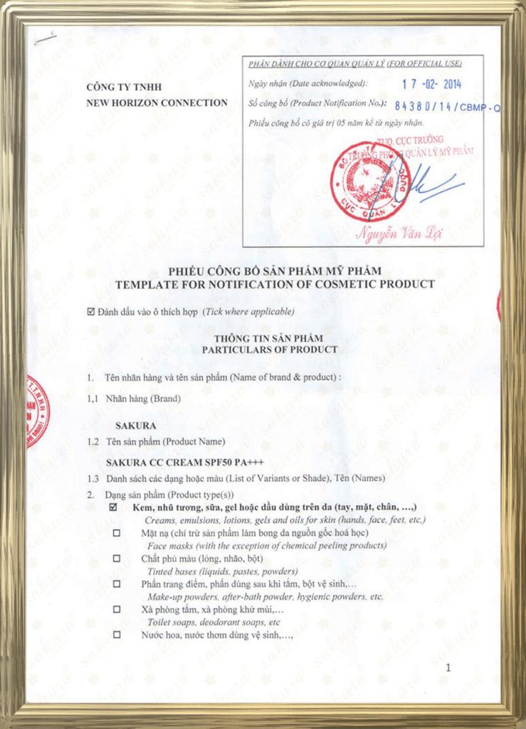 Giấy chứng nhận của Bộ Y tế TP.HCM cấp cho CC Cream Sakura