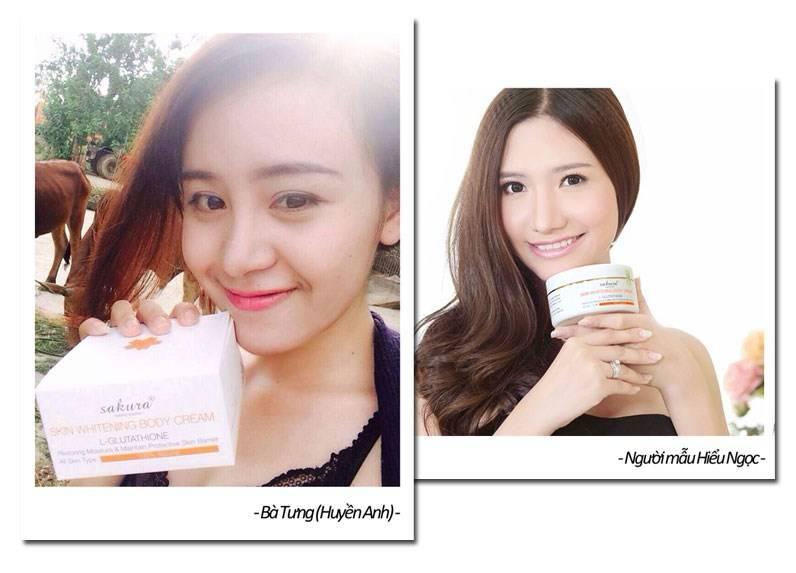 Kem dưỡng trắng da toàn thân Sakura là giải pháp làm trắng da của Bà Tưng và người mẫu Ngọc Hiếu