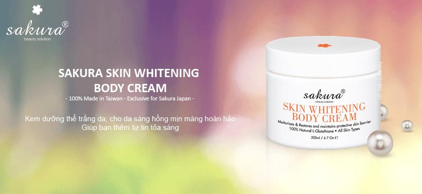 Kem dưỡng trắng da toàn thân cao cấp Sakura Skin Whitening Body Cream L-Glutathione