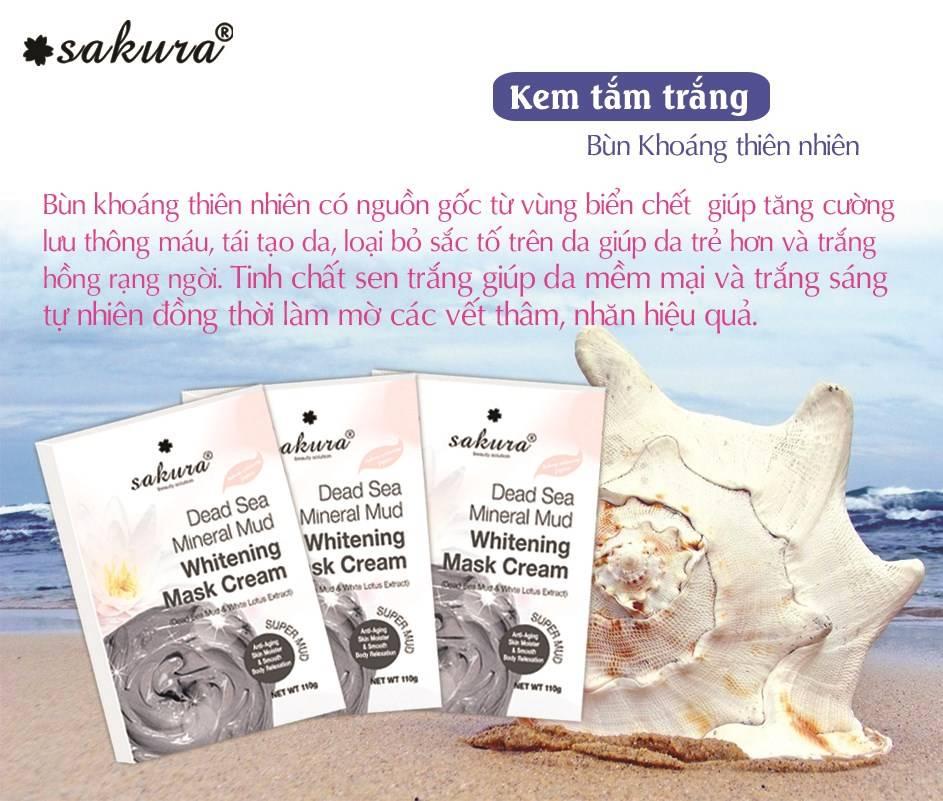 Làn da trắng hồng chỉ sau 4 - 6 tuần sử dụng kem tắm trắng bùn khoáng thiên nhiên và tinh chất sen trắng Sakura