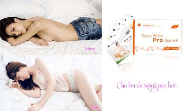 Trước và sau khi sử dụng Bộ kem tắm trắng Sakura Super White Pro System