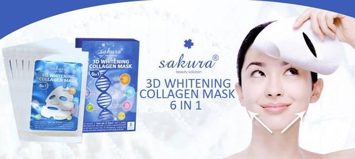Mặt nạ làm trắng mặt Collagen 3D của Sakura trắng da, giải tỏa stress