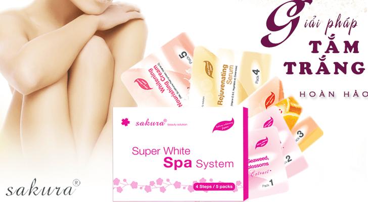 Bộ kem siêu tắm trắng cao cấp tiêu chuẩn Spa Sakura Super White với công dụng làm trắng vượt trội