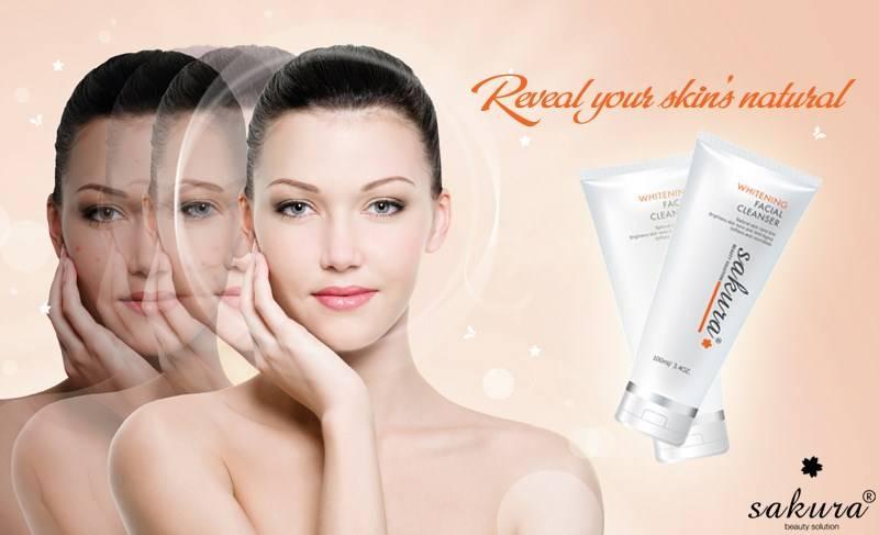 Sữa rửa mặt trắng da Sakura Whitening Facial Cleanser cho da trắng sáng từng ngày