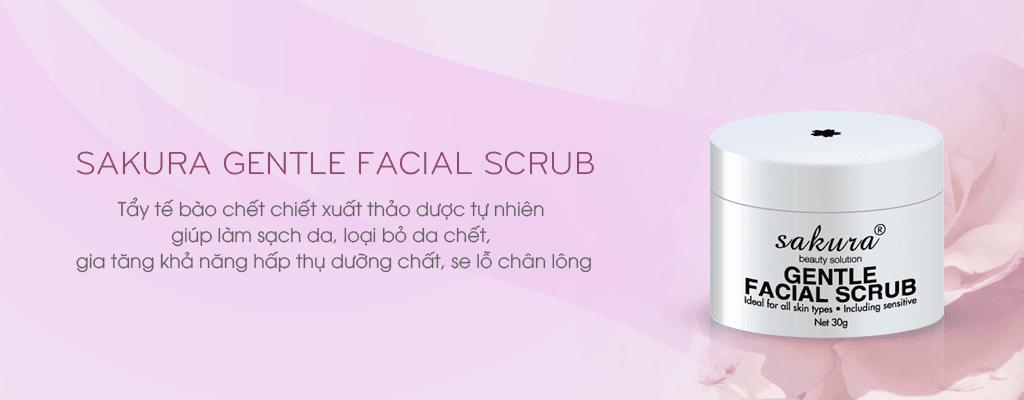 Tẩy tế bào chết Sakura Gentle Facial Scrub lấy đi lớp tế bào chết, bụi bẩn trên bề mặt da