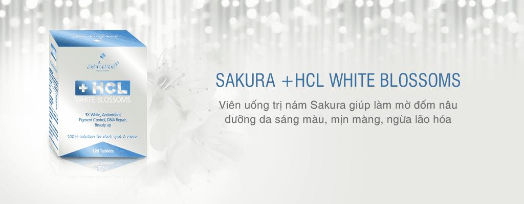 Viên uống trị nám Sakura HCL White Blossom giúp đánh bật vết thâm, đốm nâu, đồi mồi, vùng da sạm nám